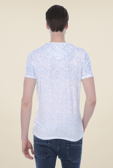 Basics White Printed Viscose T-shirt