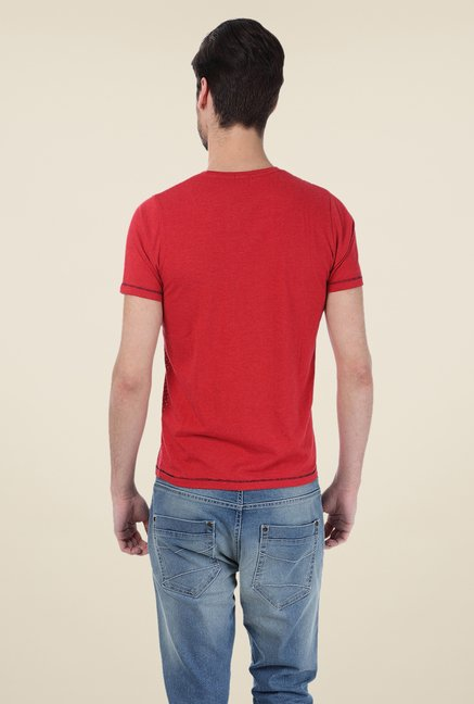 Basics Red Printed Crew T-shirt