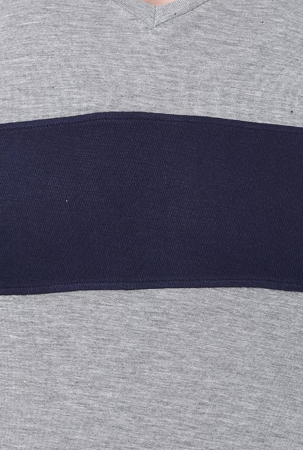 Basics Grey Solid Viscose T-shirt
