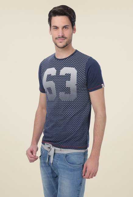 Basics Navy Printed Crew T-shirt