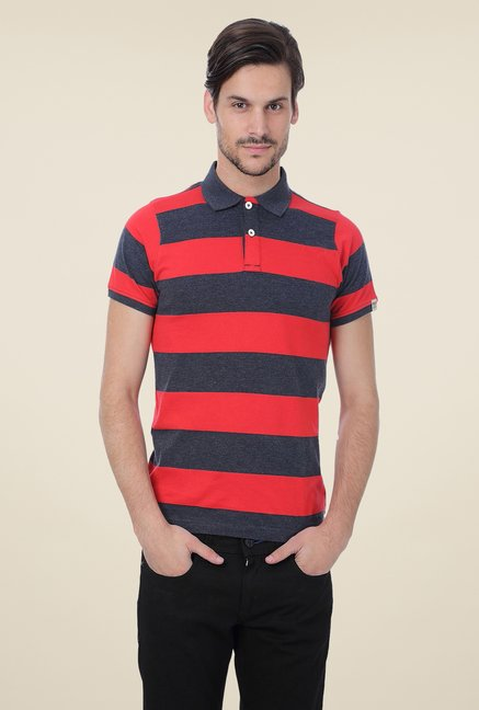 Basics Red Striped Blend Short Sleeve Polo T-shirt