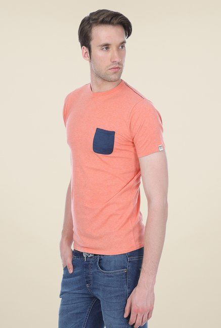 Basics Peach Solid Crew T-shirt