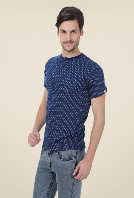 Basics Navy Printed Cotton T-shirt