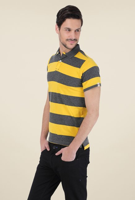 Basics Yellow Striped Polo T-shirt