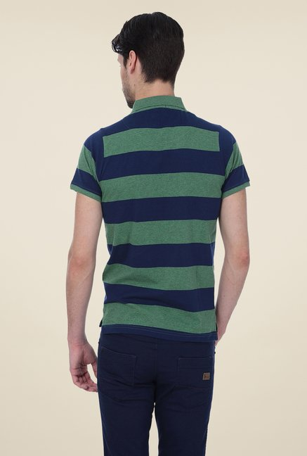 Basics Olive Striped Polo T-shirt