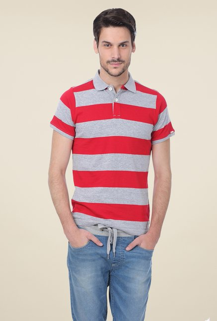 Basics Grey Striped Polo Blend T-shirt