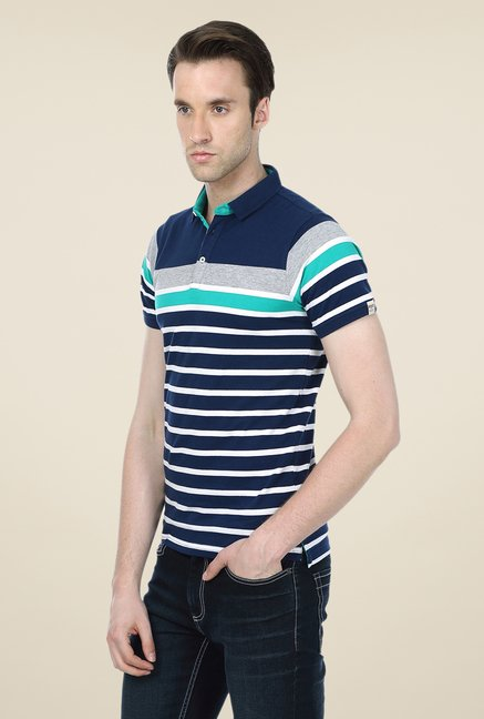 Basics Navy Striped Cotton Short Sleeve Polo T-shirt