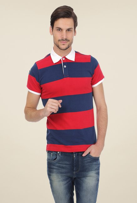 Basics Red Striped Cotton Shirt Collar Polo T-shirt