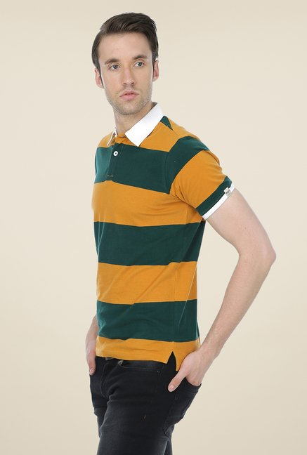 Basics Mustard Striped Polo Cotton T-shirt