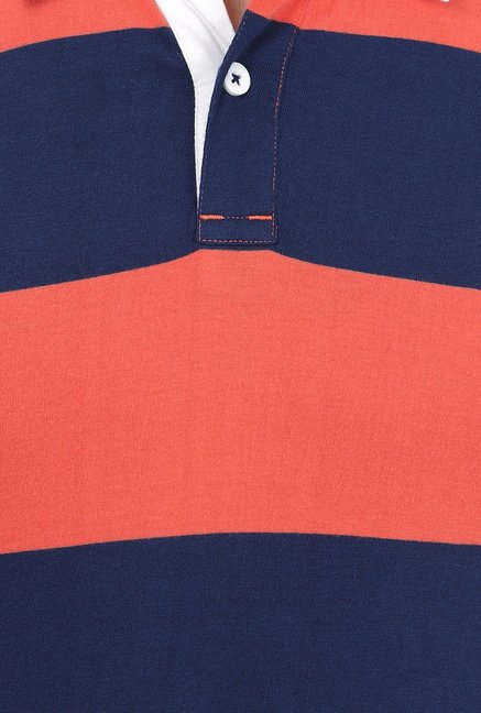 Basics Orange Striped Polo T-shirt