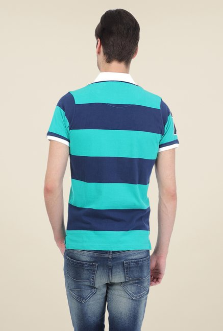 Basics Turquoise Striped Short Sleeve Polo T-shirt