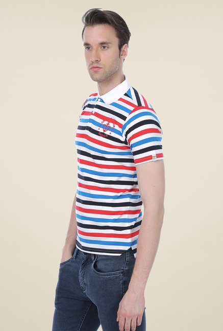 Basics Multicolor Striped Cotton Polo T-shirt