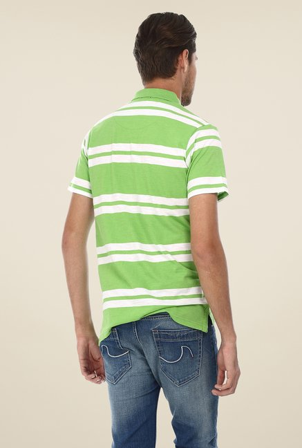 Basics Green Striped Polo T-shirt