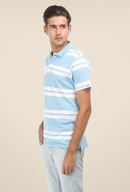 Basics Light Blue Striped Polo T-shirt