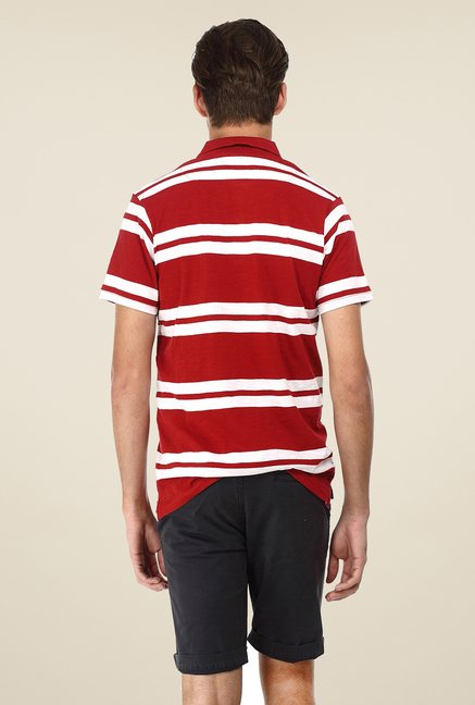 Basics Red Striped Cotton Polo T-shirt