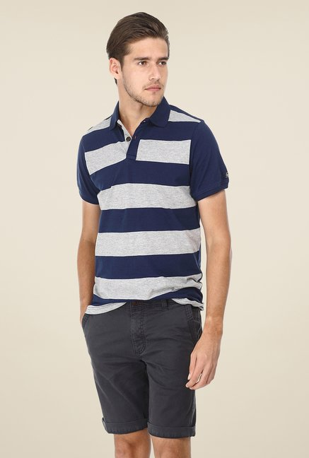 Basics Navy Striped Blend Polo T-shirt