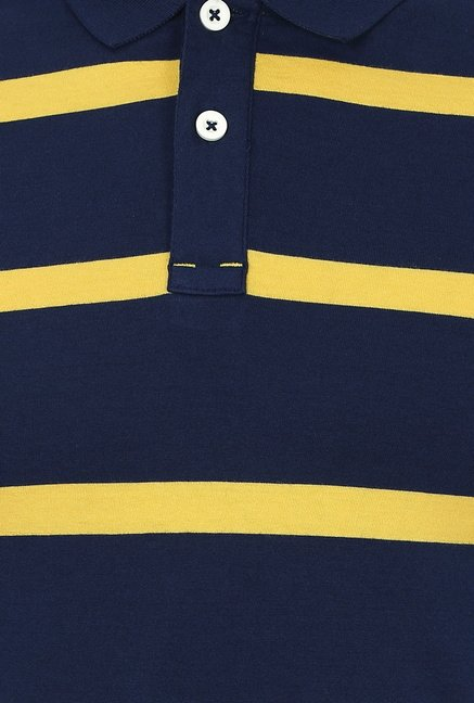 Basics Navy Striped Cotton Polo T-shirt