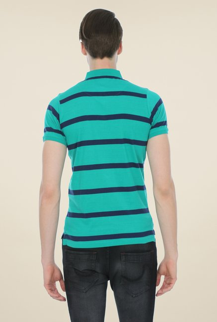 Basics Turquoise Striped Cotton Polo T-shirt