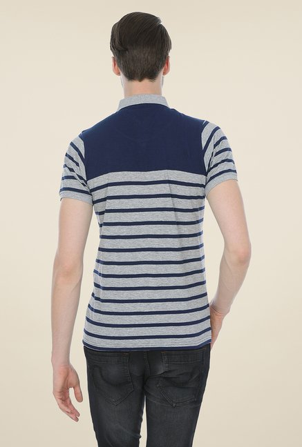 Basics Navy Striped Blend Short Sleeve Polo T-shirt