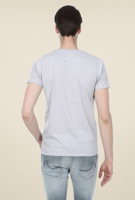 Basics Grey Printed Crew T-shirt