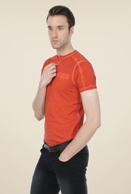 Basics Orange Solid T-shirt