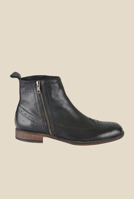 Salt 'n' Pepper Ray Black Brogue Boots