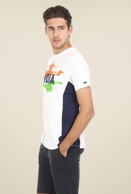 Basics White Printed Crew T-shirt