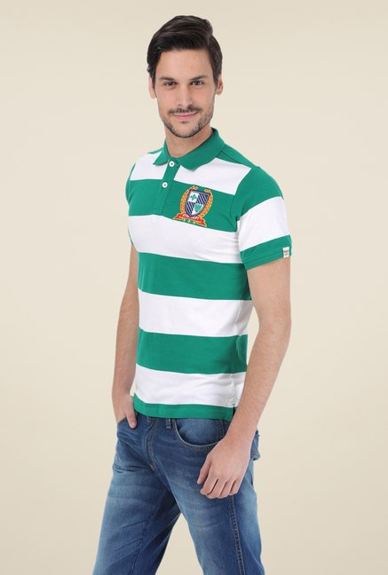 Basics Green Striped Polo Cotton T-shirt
