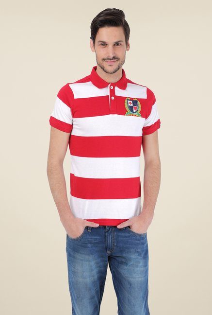 Basics Red Cotton Polo T-shirt