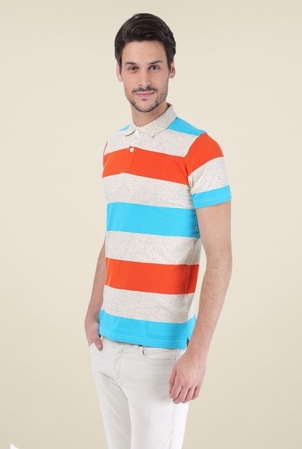 Basics Multicolor Striped Blend Short Sleeve Polo T-shirt