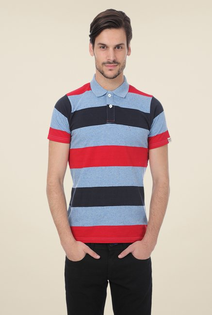 Basics Multicolor Striped Blend Polo T-shirt