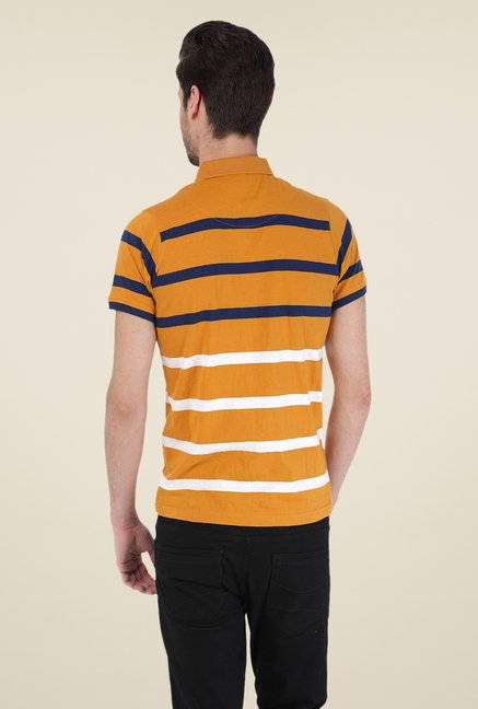 Basics Mustard Striped Polo T-shirt