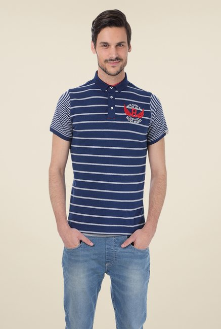 Basics Navy Striped Blend Shirt Collar Polo T-shirt