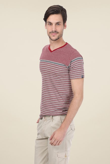 Basics Maroon Striped T-shirt