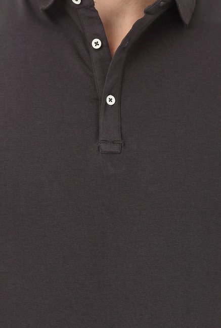 Basics Muscle Fit Charcoal Polo T-shirt