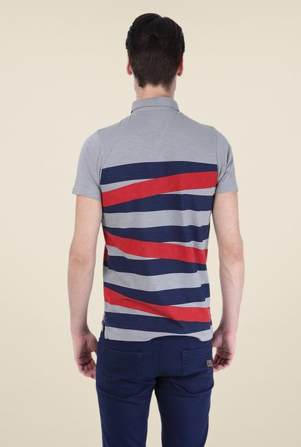Basics Grey Striped Polo T-shirt