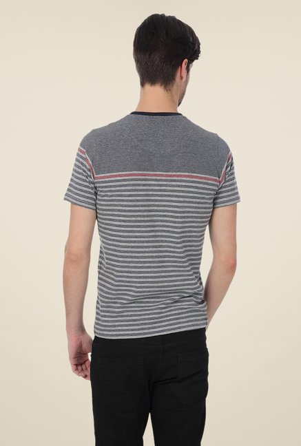 Basics Grey Striped Blend T-shirt