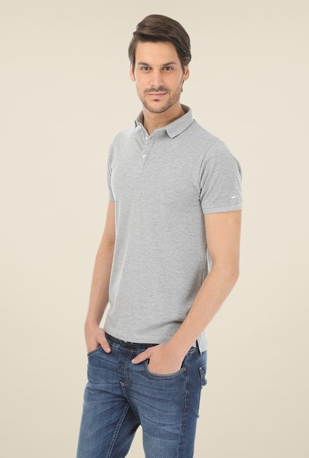 Basics Muscle Fit Grey Polo T-shirt