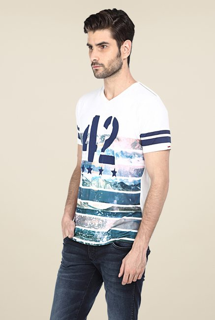Basics White Printed T-shirt