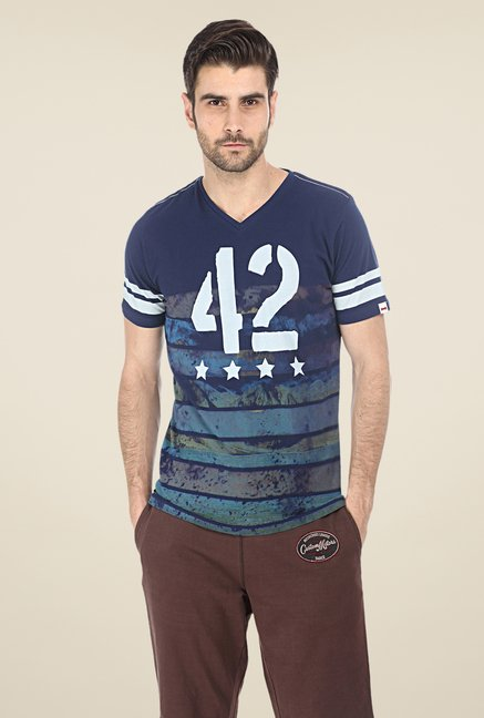 Basics Navy Printed T-shirt