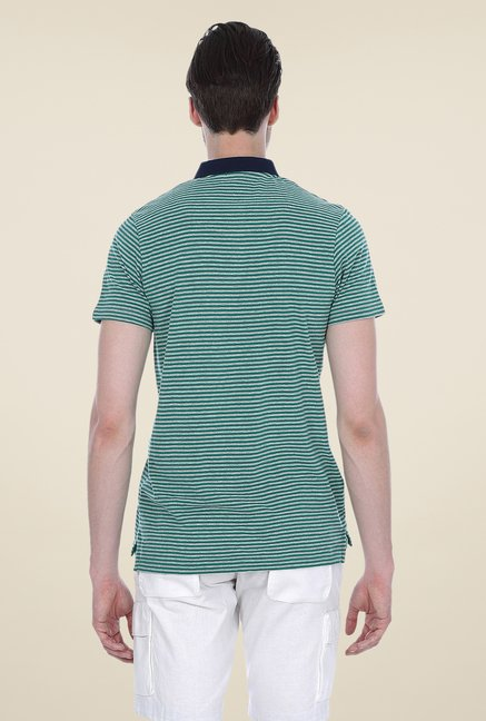Basics Green Striped Blend Polo T-shirt