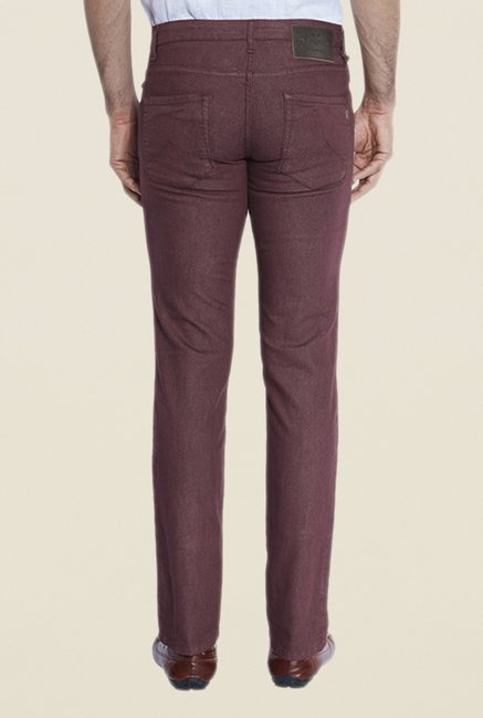 Park Avenue Maroon Raw Denim Jeans