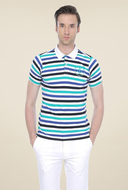 Basics Multicolor Striped Shirt Collar Polo T-shirt