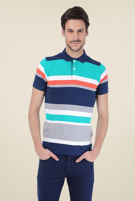 Basics Multicolor Striped Cotton Short Sleeve Polo T-shirt