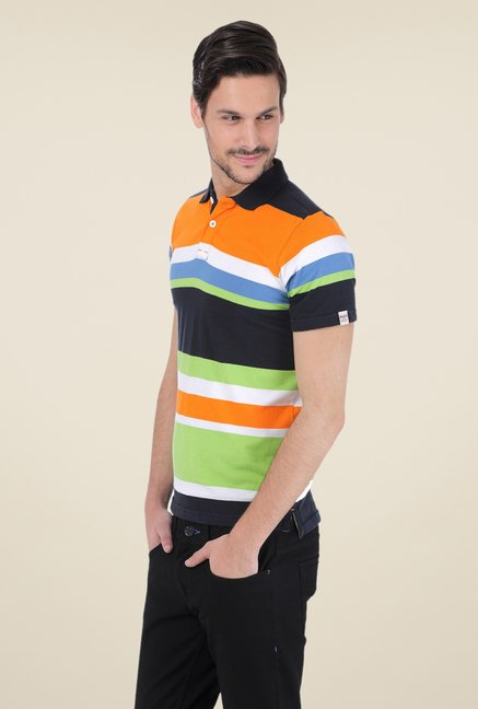 Basics Multicolor Striped Polo T-shirt