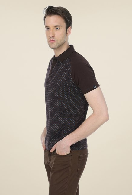 Basics Brown Polka Dot Polo T-shirt