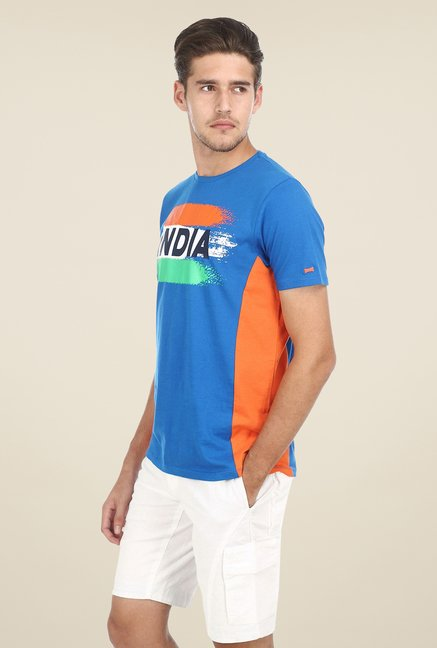Basics Blue Printed Crew T-shirt
