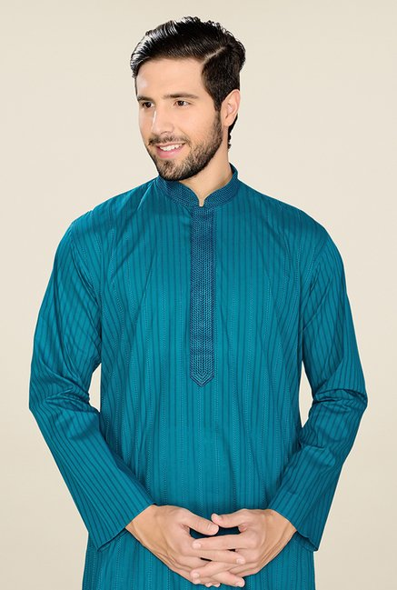 Manyavar Blue & White Striped Kurta & Pyjama
