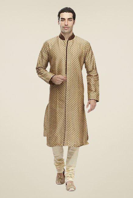 Manyavar Brown Jacquard Kurta & Churidar