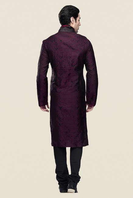 Manyavar Wine Brocade Kurta & Churidar